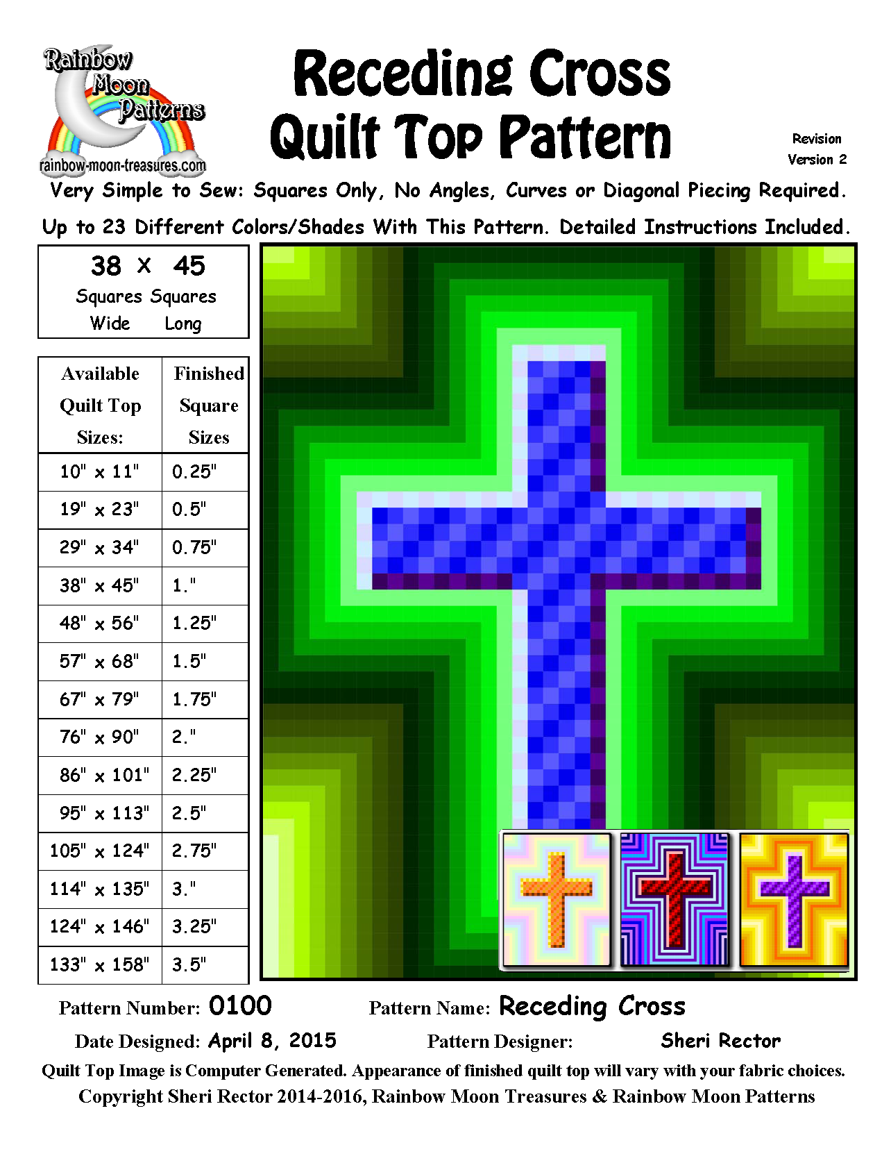 0100 Receding Cross Quilt Pattern